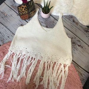 Festival Boho White Crochet Tassel Fringe Tank Top